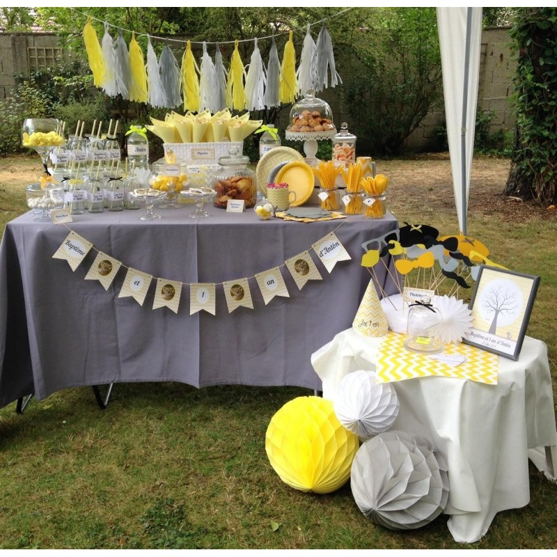 Acheter guirlande tassel jaune blanc gris sur hello pompon for Decoration jardin bapteme