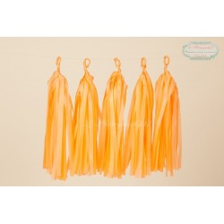 5 Papier tassel orange melon 35 cm