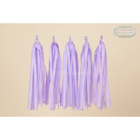 5 Papier tassel violet lavande 35 cm